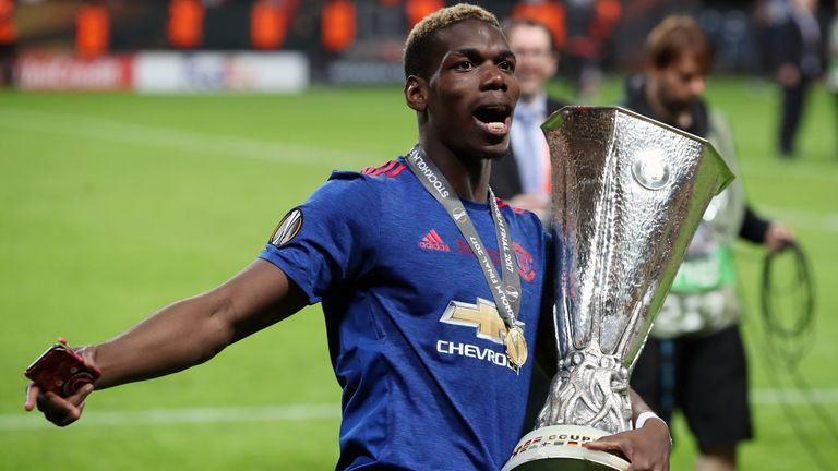 Paul Pogba celebrates Manchester United's 2017 Europa League victory in Stockholm