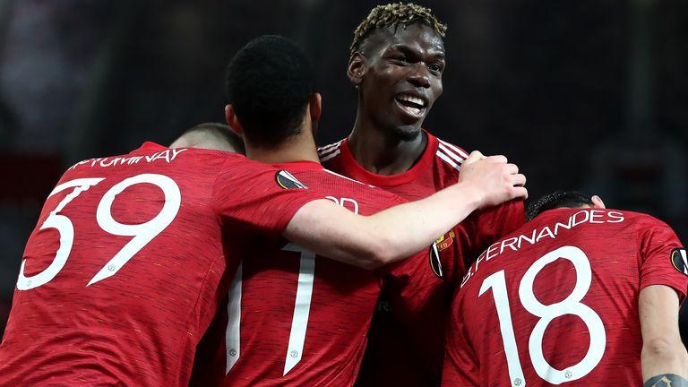 Paul Pogba and team-mates celebrate the fifth goal against Roma