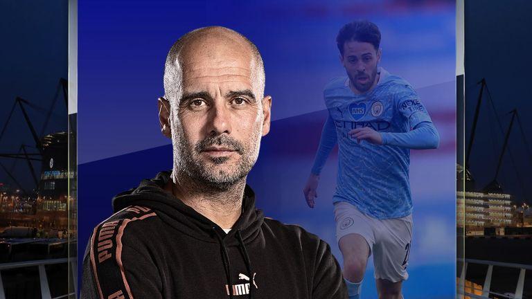 Pep Guardiola and Bernardo Silva of Manchester City