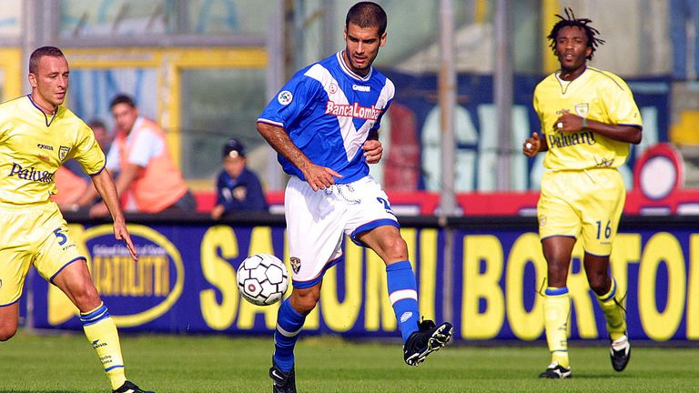 Guardiola from Brescia in action during the 7th round match of Serie A between Brescia and Chievo, played at the M. Rigamonti stadium in Brescia, Italy.