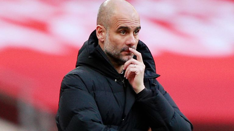 Pep Guardiola during FA Cup semi-final defeat to Chelsea at Wembley on April 17