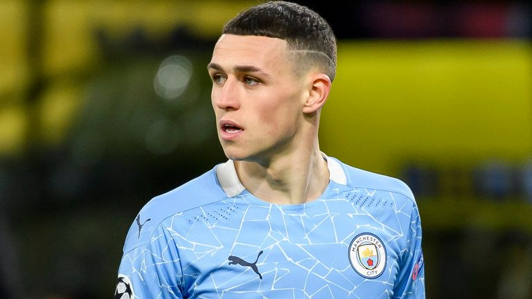 Phil Foden of Manchester City looks on during the UEFA Champions League Quarter Final Second Leg match between Borussia Dortmund and Manchester City at Signal Iduna Park on April 14, 2021 in Dortmund, Germany. (Photo by Alex Gottschalk/DeFodi Images via Getty Images)