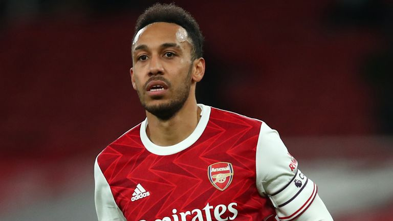 Arsenal striker Pierre-Emerick Aubameyang in action against Manchester City