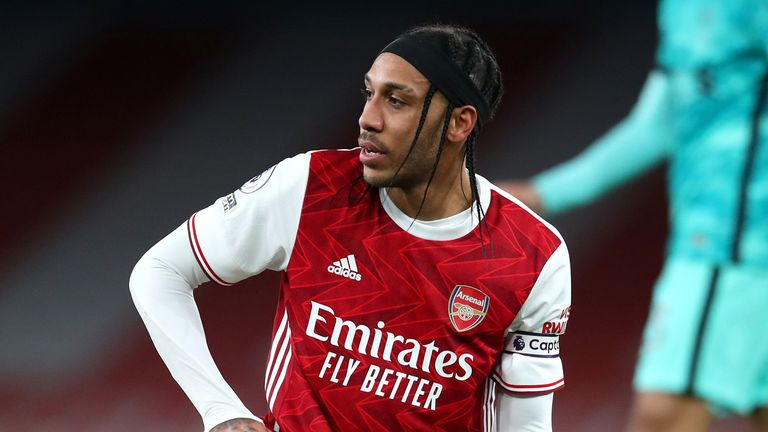 Arsenal's Pierre-Emerick Aubameyang dejected after going down under a challenge during the Premier League match at The Emirates Stadium, London