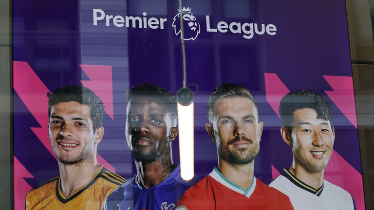 A banner hangs in the reception area of Premier League HQ in London (AP)
