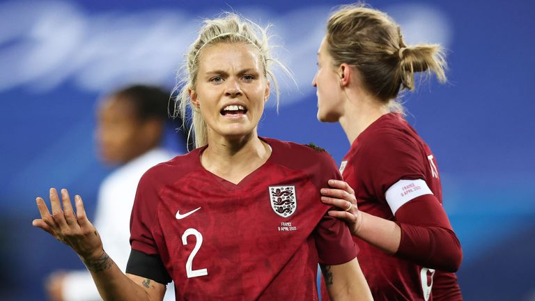 Rachel Daly was penalised for a foul to give France their penalty
