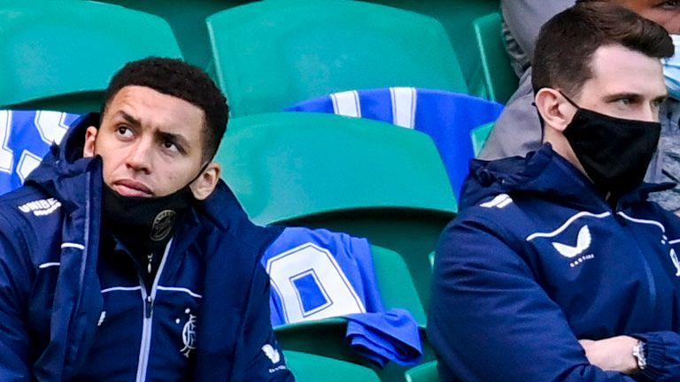 GLASGOW, SCOTLAND - MARCH 21: Rangers' James Tavernier (L) and Ryan Jack watch on during the Scottish Premiership match between Celtic and Rangers at Celtic Park, on March 21, 2021, in Glasgow, Scotland. (Photo by Rob Casey / SNS Group)