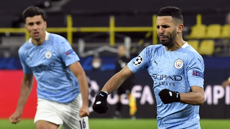 Riyad Mahrez scored a penalty for Man City vs Borussia Dortmund