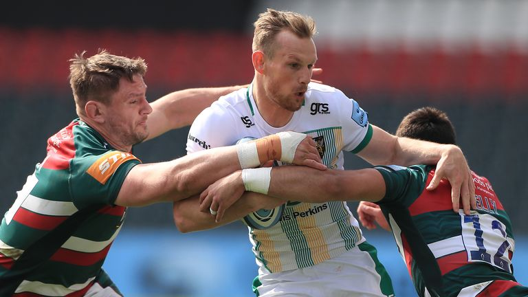 Rory Hutchinson was among the tryscorers as Northampton saw off Leicester