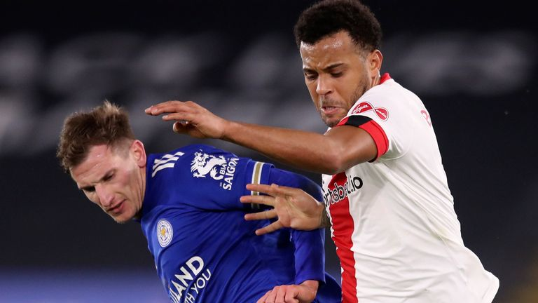 Leicester's Marc Albrighton and Southampton's Ryan Bertrand tussle during their Premier League clash in January