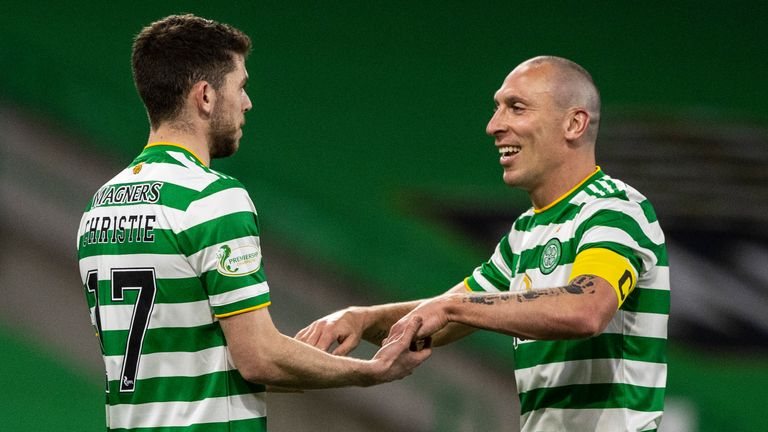 Ryan Christie celebrates with Scott Brown after doubling Celtic's lead