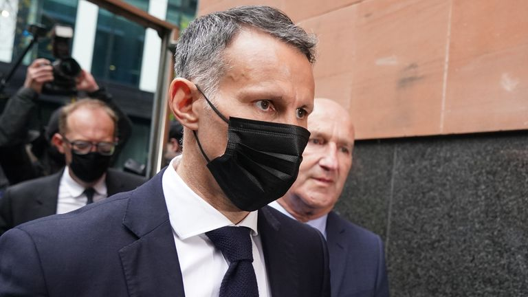 Ryan Giggs arriving at Manchester Magistrates' Court