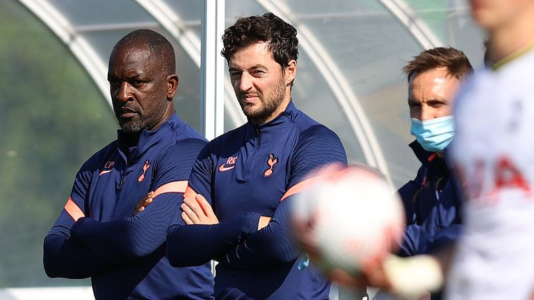 Ryan Mason will take over as interim head coach of Spurs with Chris Powell (L) as his assistant