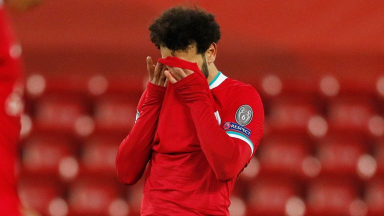 Mohamed Salah holds his head in his hands