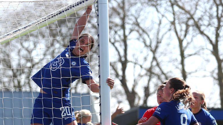 Chelsea's Sam Kerr celebrates after scoring a hat-trick against Birmingham in WSL