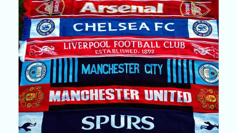 European Super League reaction A selection of scarves pictured in London of the English soccer Premier League teams Arsenal, Chelsea, Liverpool, Manchester City, Manchester United and Tottenham Hotspur, who announced in a joint statement they are to join a new European Super League. Picture date: Monday April 19, 2021.