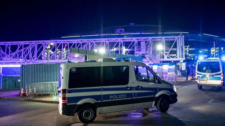 Police at Schalke's Veltins Arena (AP)