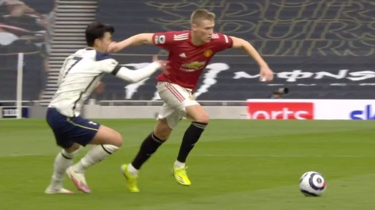 United's goal was disallowed after VAR spotted this stray arm from Scott McTominay, which caught Heung-min Son