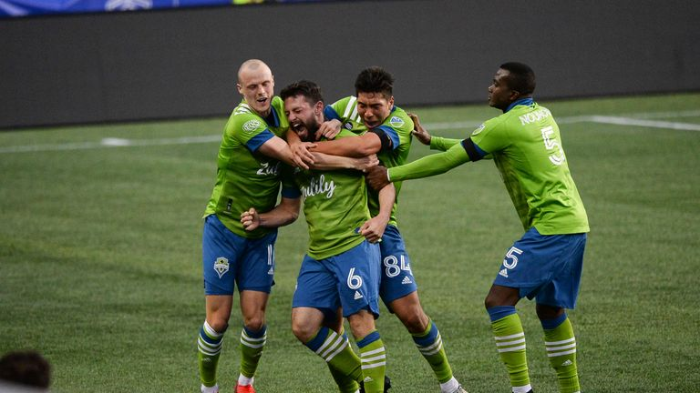 Seattle Sounders FC midfielder Joao Paulo (6) celebrates his 2nd half goal with his team during a MLS match between the Seattle Sounders and Minnesota United FC