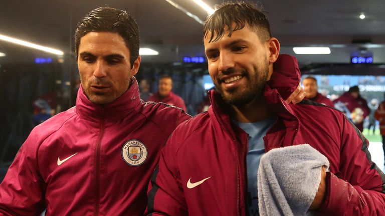 Mikel Arteta, pictured here in 2017 while Man City assistant boss, says Arsenal are not looking to sign Sergio Aguero