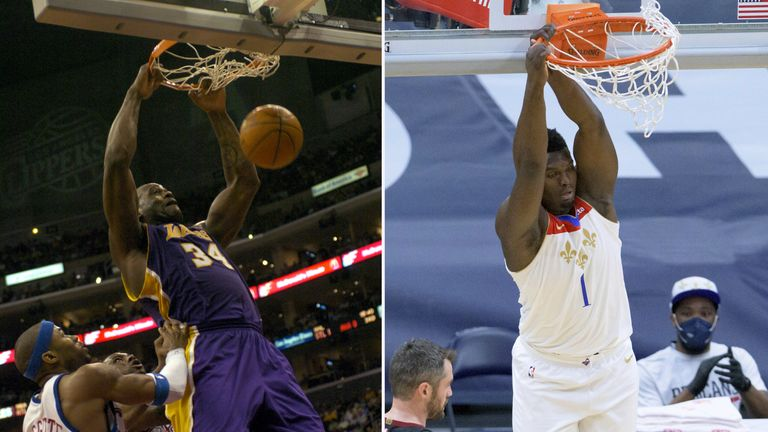 Shaquille O'Neal for the Lakers and Zion Williamson for the Pelicans