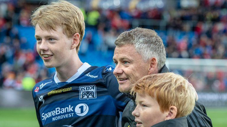 GETTY - Ole Gunnar Solskjaer with sons Noah, left, and Elijah