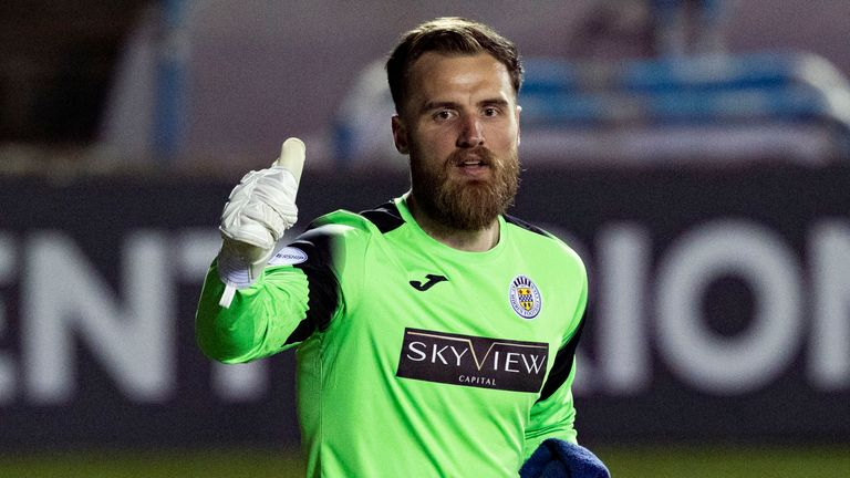 St Mirren's Jak Alnwick at full time during the Scottish Cup Quarter Final between Kilmarnock and St Mirren