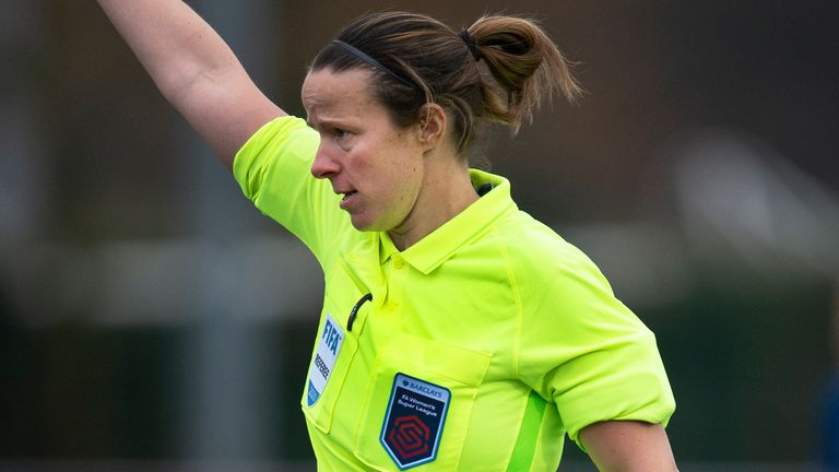 SOUTHPORT, ENGLAND - DECEMBER 06: Referee Stacey Pearson during the Barclays FA Women's Super League match between Everton Women and Manchester City Women at Haig Avenue on December 6, 2020 in Southport, England. (Photo by Joe Prior/Visionhaus) *** Local Caption *** Stacey Pearson