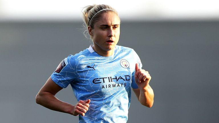 Manchester City's Steph Houghton during the FA Women's Super League match at the Manchester City Academy Stadium.