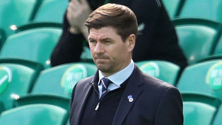 Rangers manager Steven Gerrard during the Scottish Premiership match at Celtic Park, Glasgow. Picture date: Sunday March 21, 2021 (PA)