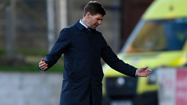 Rangers boss Steven Gerrard shows his frustration at St Johnstone