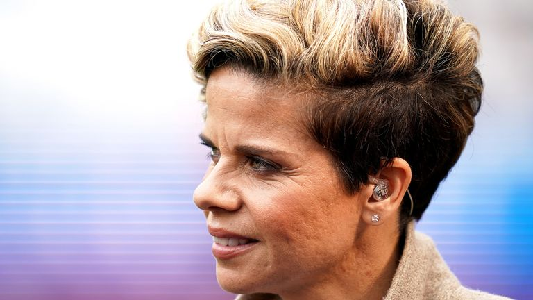 Former England player Sue Smith commentating