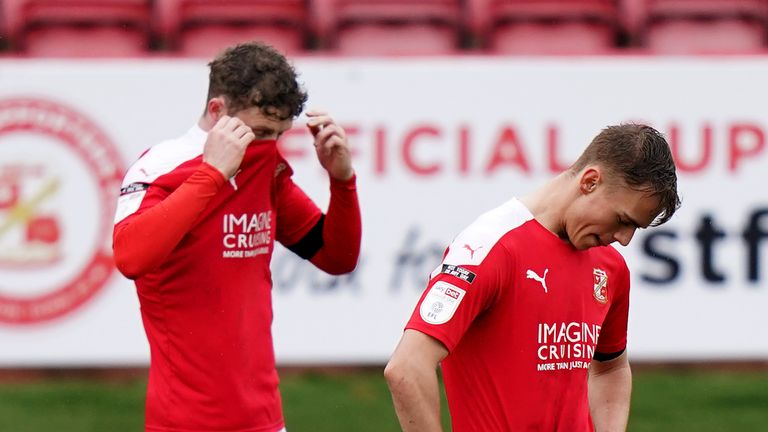 Swindon have been relegated to League Two after a 5-0 thrashing by MK Dons