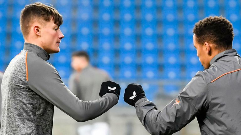 POZNAN, POLAND - DECEMBER 10:  Rangers Nathan Patterson and James Tavernier pre-match during the UEFA Europa League group stage match between Lech Poznan and Rangers at the Poznan Stadium on December 10, 2020, in Poznan, Scotland.  (Photo by Adam Nurkiewicz / SNS Group)
