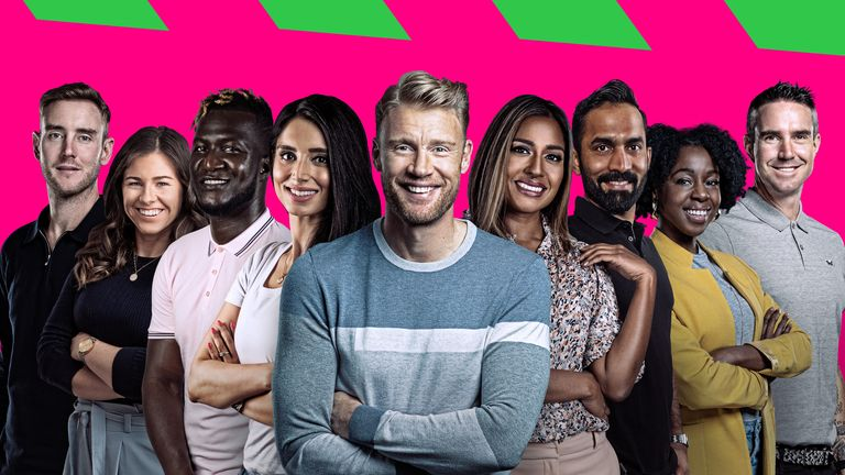 Andrew Flintoff and Sky Sports' The Hundred Team