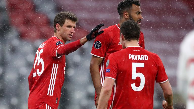 Thomas Muller celebrates scoring Bayern Munich's second goal vs PSG