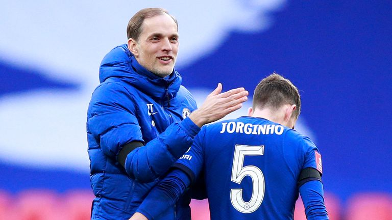 Thomas Tuchel congratulates Jorginho after Chelsea's win over Man City