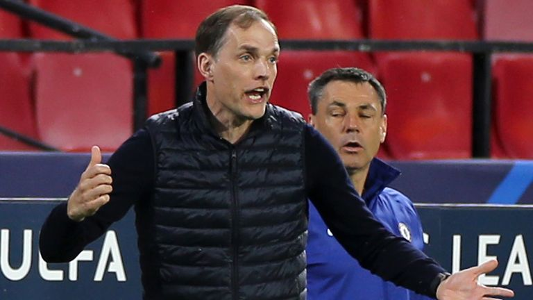 Chelsea v FC Porto - UEFA Champions League - Quarter Final - Second Leg - Ramon Sanchez-Pizjuan Stadium Chelsea manager Thomas Tuchel reacts during the UEFA Champions League match at the Ramon Sanchez-Pizjuan Stadium, Seville. Picture date: Tuesday April 13, 2021. See PA story SOCCER Chelsea. Photo credit should read: Isabel Infantes/PA Wire. RESTRICTIONS: Editorial use only, no commercial use without prior consent from rights holder. 13 April 2021
