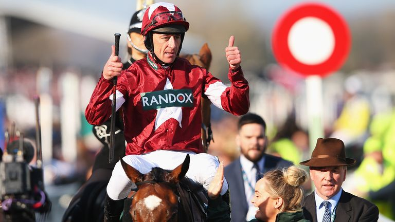 Davy Russell and Tiger Roll celebrate their Grand National win