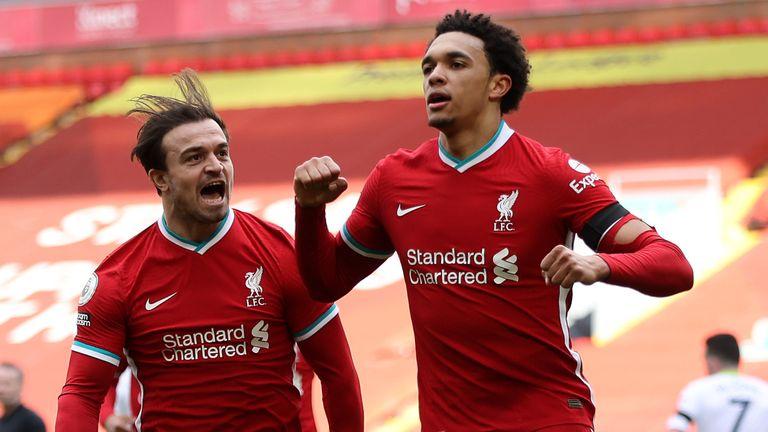 Liverpool's Trent Alexander-Arnold celebrates with team-mate Xherdan Shaqiri after scoring winner against Aston Villa