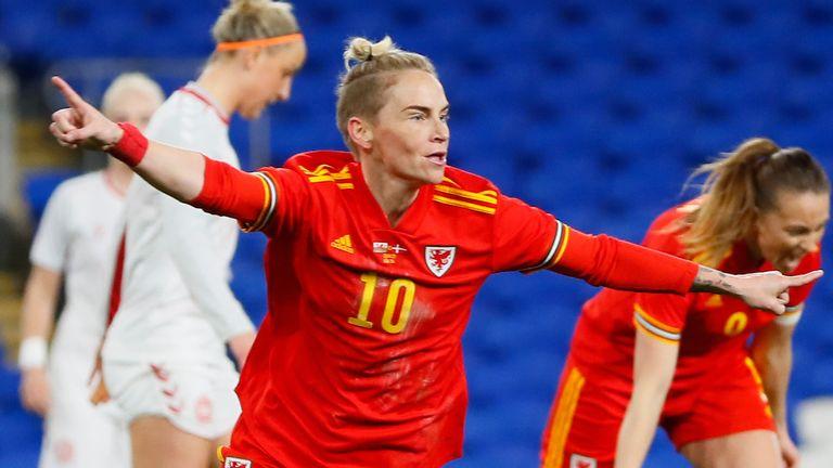 Jess Fishlock scored Wales' equaliser in the 1-1 draw with Denmark earlier in April (Credit: FAWales/Kunjan Malde)