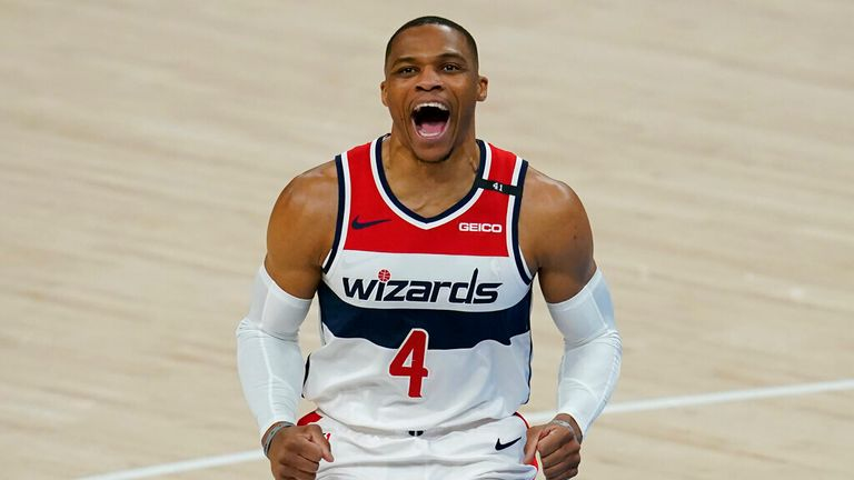 AP - Washington Wizards guard Russell Westbrook (4) shouts before an NBA basketball game against the Oklahoma City Thunder