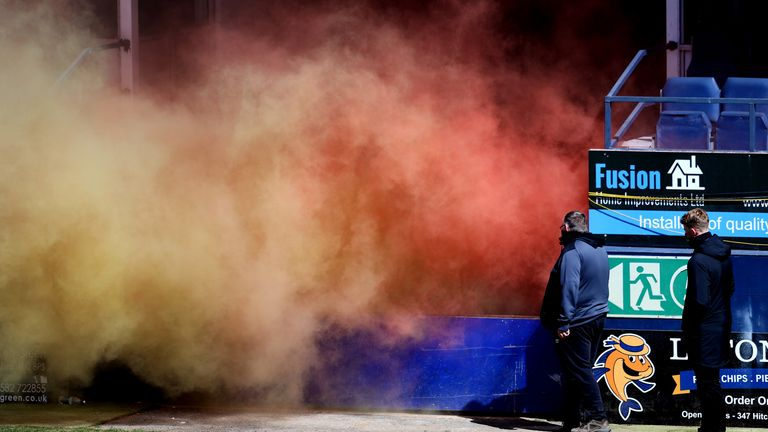 A smoke bomb was set off before Luton's match against Watford