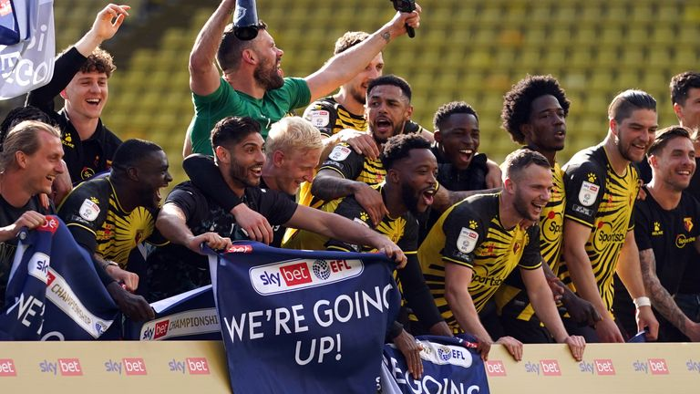 Watford celebrate their promotion back to the Premier League