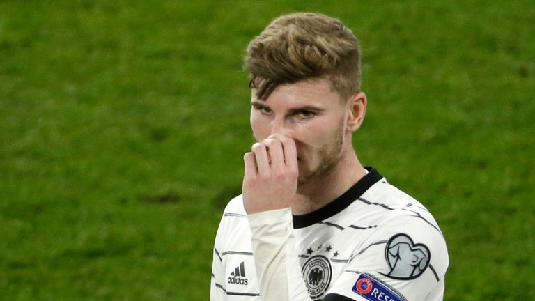 Timo Werner missed a great chance for Germany in their 2-1 home defeat to North Macedonia