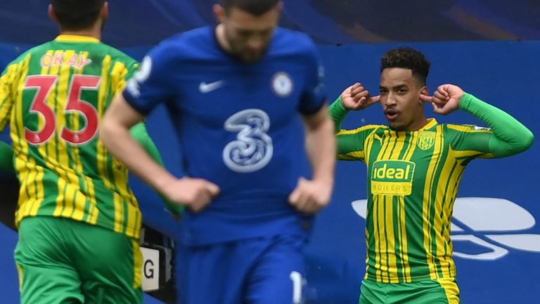 Matheus Pereira celebrates after scoring West Brom's second goal against Chelsea