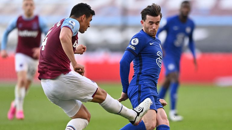 Fabian Balbuena makes contact with Ben Chilwell's leg after making a clearance