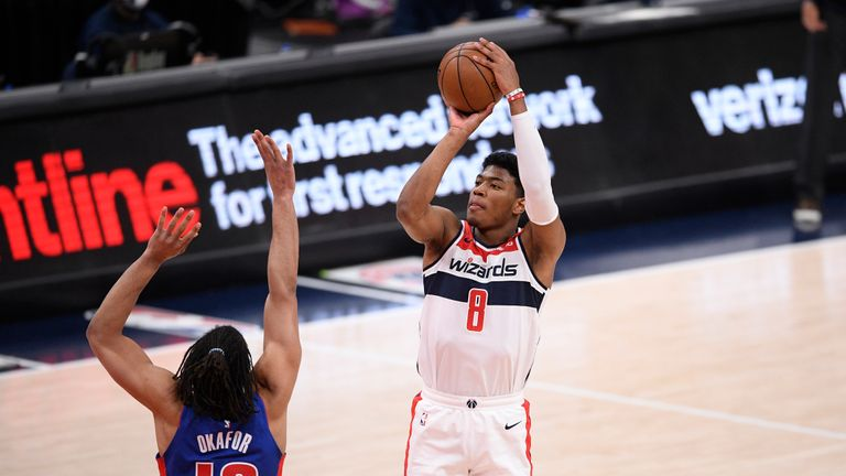 Washington Wizards forward Rui Hachimura (8) shoots against Detroit Pistons center Jahlil Okafor (13) during the first half of an NBA basketball game, Saturday, April 17, 2021, in Washington. (AP Photo/Nick Wass)