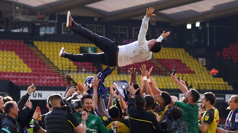 Watford manager Xisco is thrown in their air in celebration at the final whistle