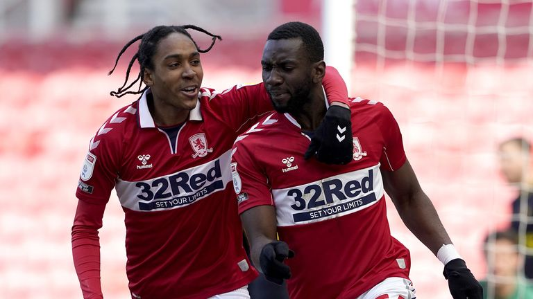 Middlesbrough's Yannick Bolasie (right) celebrates scoring their first goal of the game with teammate Djed Spence (left) during the Sky Bet Championship match at the Riverside Stadium, Middlesbrough